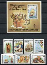 Malediven Maldive 1978 James Cook Schiffe Entdecker 772-778 Block 51 B Imperf