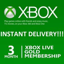 Microsoft Xbox LIVE 3 Month Gold Membership Card ⚡⚡ INSTANT DELIVERY !!! ⚡⚡