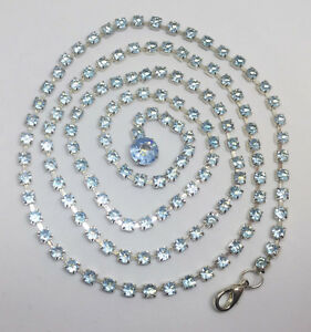 """Light Blue Rhinestone Necklace Strand String Silver Tone Metal Faceted 38"""""""