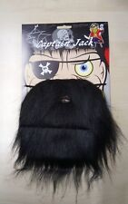 Black Pirate Beard on Elastic Buccaneer Fancy Dress Accessories Costume