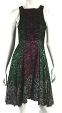 CHRISTOPHER KANE Black Foil Print Velvet & Silk Fit & Flare Dress 2 US