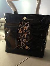 "NWT kate spade ""Boys Make Passes At Girls In Glasses"" Bon Shopper Black Tote Bag"