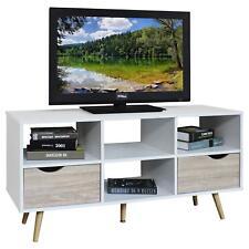TV Lowboard Rack Hifi Möbel Fernsehtisch weiß/Sonoma Eiche skandinavisch retro