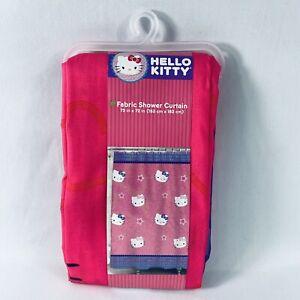 "Hello Kitty by Sanrio  Fabric Shower Curtain 72 x 72"" NEW NIP Pink Purple"