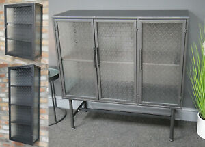 Metal Cabinets Patterned Glass Wall Mountable Freestanding With Door Shelving