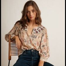 Velvet By Graham & Spencer JANAE CLEO PRINT BEADED BUTTON UP TOP Large L