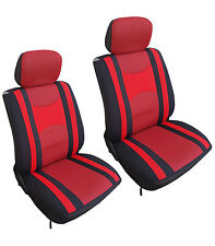 Mesh 4 Pcs Low Back Red & Black Seat Covers for Auto Cars SUVS - Front Pair