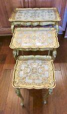 (3) Vintage TABLE SET Hollywood Regency italian stacking nesting florentine gold