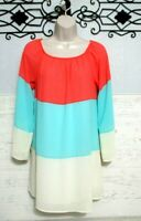 Miin Boutique  Tunic Top Size S 3/4 Sleeve Multicolored Spring/Summer Blouse