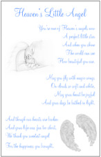 Heavens Little Angel, baby child loss graveside memorial keepsake card C36