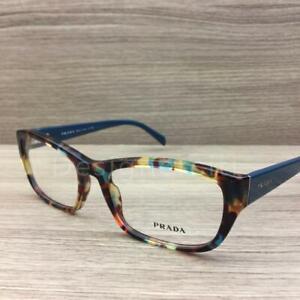 Prada VPR18O Eyeglasses Spotted Blue Havana NAG-1O1 Authentic 54mm