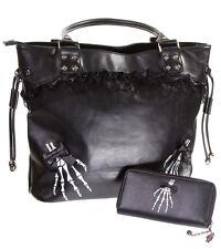 Banned Gothic Skeleton Hand Gothic Shoulder Bag Handbag & Wallet GIFT SET Black