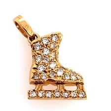 Modern 14k Gold Ice Skating Charm Pendant 0.51 Carat Natural Diamonds Gem Stone