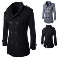 Winter Mens Slim Double Breasted Warm Pea Coat Blazer Long Trench Jacket Outwear