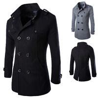 Winter Mens Slim Double Breasted Warm Pea Coat Blazer Long Trench Jacket Outwear