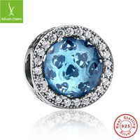 Authentic 925 Sterling Silver Radiant Heart Sky Blue Crystal Charms Bead Jewelry