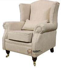 Ashley Fireside High Back Wing Armchair Zoe Plain Biscuit Beige Fabric