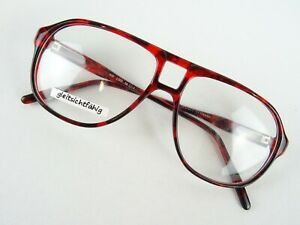 Rote Pilotbrille Brillenfassung Kunststoff mit XXL Glasform stabil Vintage Gr/L