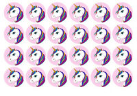 24 UNICORN EDIBLE MINI WAFER PAPER CUPCAKE CUP CAKE DECORATION IMAGES TOPPERS