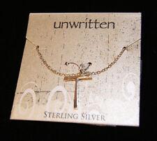 Unwritten Sterling Silver T Shape Pendant Necklace, Retail $60