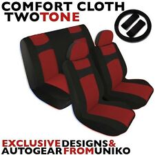 Black & Red Seat Covers Bench Bucket Headrests Steering Wheel Polyester CS4
