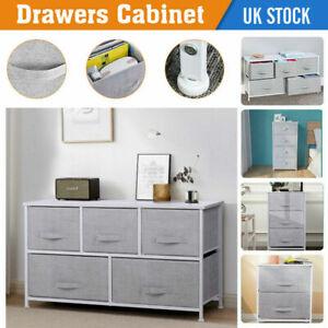 Fabric Cabinet Storage Unit Bedside End Table w/ 5 Drawers Orginaser Metal Frame