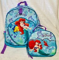 2 pc Disney Store The Little Mermaid Ariel Lunch Tote Bag Box Backpack Book Set