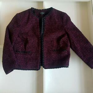 Topshop Cropped Boucle Wool Jacket Blazer Burgundy Black Ribbon Trim UK 8