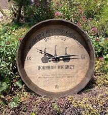 Woodford Reserve Whiskey Barrel Wall Clock Beer Bar Pub Man Cave Wood Mirror
