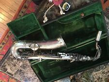 Antique Estate Frank Holton & Co. Silver Saxophone Collectible