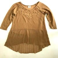 H.I.P. NWOT Women's Size Small Beige Top Scoop Neck 3/4 Sleeve  Loose Boho !