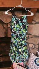 Women's Dress Size Small Blue Green White Black Large Floral Print Cruise