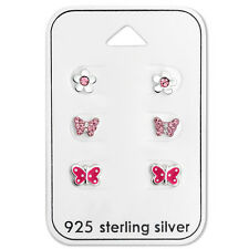 925 Sterling Silver Pink Butterfly Flower Crystal Stud Earrings Studs Girl Women