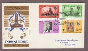 Falkland Islands # 184 - 187 , Bishop Stirling FDC - I Combine S/H