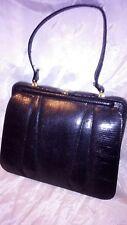borsa in pelle di lucertola nera vintage