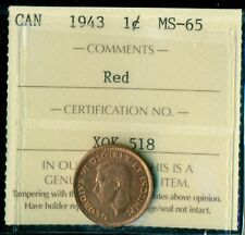 1943 Canada King George VI Small Cent ICCS MS-65 Red