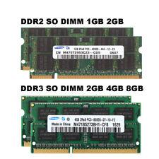 Samsung RAM 1GB 2GB 4 GB 8 GB DDR2 DDR3 5300 6400 10600 12800 Laptop Memory Lot