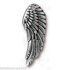Wing Charm Antiqued Silver Pewter 2 Jewelry Charms 28X11Mm Pc10