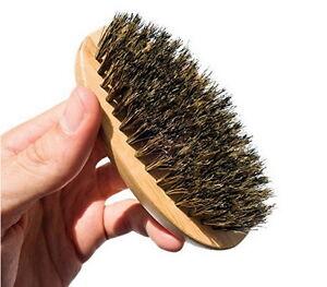 Men Boar Hair Bristle Beard Mustache Brush Palm Soft Round Wood Handle