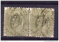 India KGV 4 Anna Pair with VI Perfin Used