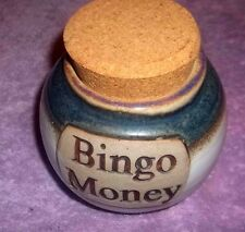 Tumbleweed Pottery Bingo Money Change Coin Jar Jug Stash Cork Lid 3 Glaze USA
