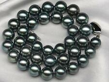 """18 """"11-13mm genuine natural tahitian black Perfect round pearl necklace 14k"""