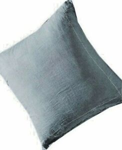 NEW ANTHROPOLOGIE Stitched Linen Euro Sham Ocher Blue