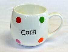 "Welsh  ""COFFI"" design china SPOTTY HUG MUG , Cymru, Wales"