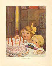 Children, The Birthday Cake, Kitchen Decor, Vintage 1922 Antique Art Print