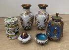 Lot Of Vintage/Antique Chinese Cloisonné Enamel Vases Spice Tower Snuff Jar