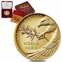 2020 W End of WWII 75th Anniversary 1/2 oz Proof Gold Coin W/Box and Coa