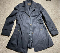 WOMENS COLE HAAN BLACK TRENCH PEA COAT NYLON SIZE LARGE JACKET BUTTON