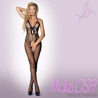 Bodystocking Catsuit NERO Tutina Rete Aperta Ricamata Hot lingerie Intimo Body