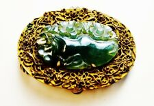 Antique Chinese brooch gilt filigree basket icy dark green nephrite jade oval br